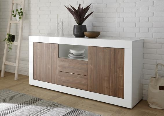 Como Two Door/Two Drawer Sideboard - White Gloss and Walnut Finish