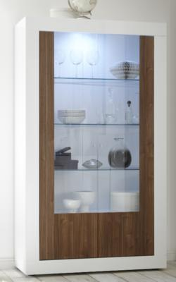 Como Two Door Display Vitrine Inc. LED Spotlight - White Gloss and Walnut Finish