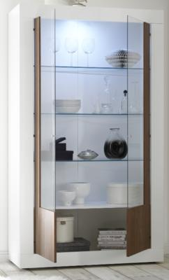 Como Two Door Display Vitrine Inc. LED Spotlight - White Gloss and Walnut Finish image 2