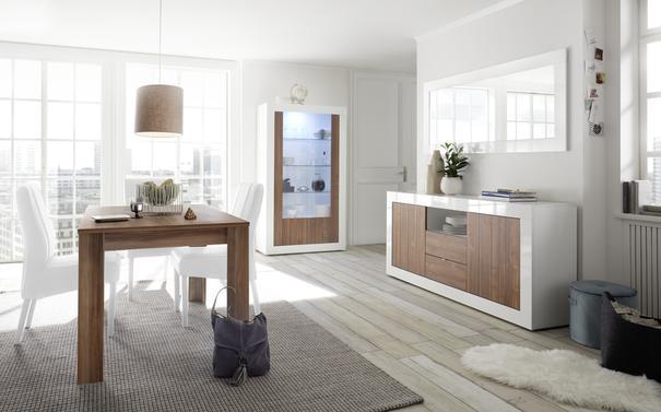 Como Two Door Display Vitrine Inc. LED Spotlight - White Gloss and Walnut Finish image 3