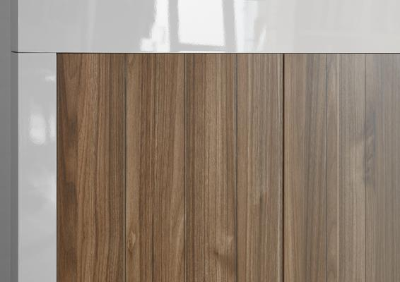Como Two Door Display Vitrine Inc. LED Spotlight - White Gloss and Walnut Finish image 4