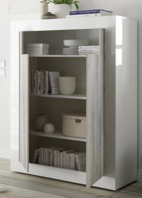 Como Two Door Highboard - White Gloss and White Pine Finish image 2
