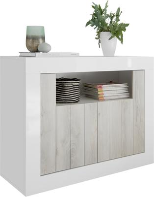 Como Two Door Sideboard - White Gloss and White Pine Finish