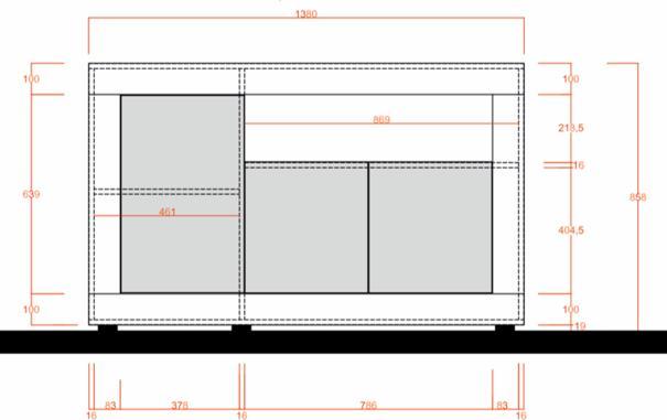 Como Three Door Sideboard - White Gloss and White Pine Finish image 2