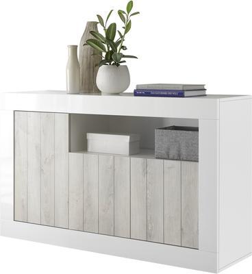 Como Three Door Sideboard - White Gloss and White Pine Finish