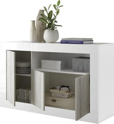 Como Three Door Sideboard - White Gloss and White Pine Finish image 4