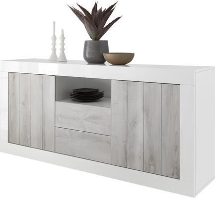 Como Two Door/Two Drawer Sideboard - White Gloss and White Pine Finish