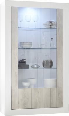 Como Two Door Display Vitrine Inc. LED Spotlight - White Gloss and White Pine Finish