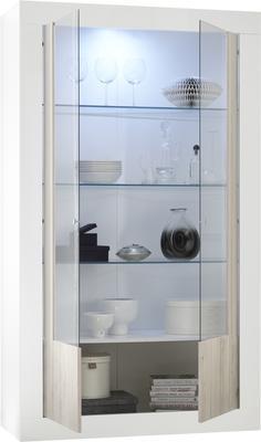 Como Two Door Display Vitrine Inc. LED Spotlight - White Gloss and White Pine Finish image 3