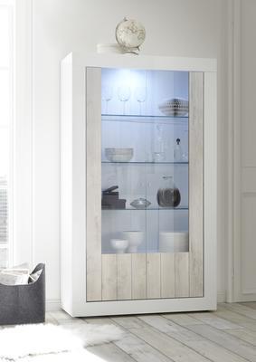 Como Two Door Display Vitrine Inc. LED Spotlight - White Gloss and White Pine Finish image 4