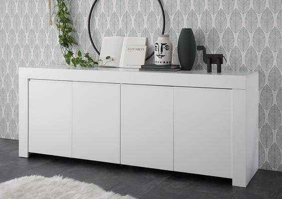 Bergamo Collection Four Door Sideboard - Matt White