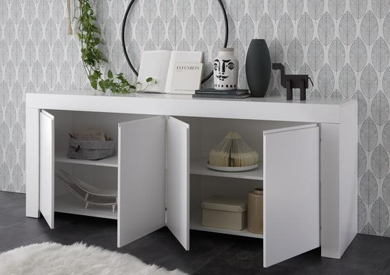 Bergamo Collection Four Door Sideboard - Matt White image 3