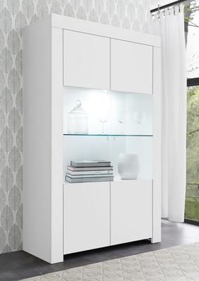 Bergamo Collection Two Door Display Vitrine with LED Spot Light - Matt White