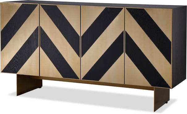 Unma Black and Metallic Chevron Sideboard Retro image 24