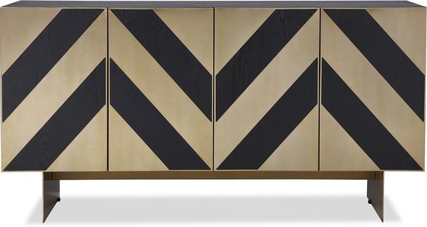 Unma Black and Metallic Chevron Sideboard Retro image 2
