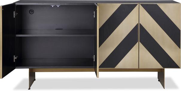 Unma Black and Metallic Chevron Sideboard Retro image 3