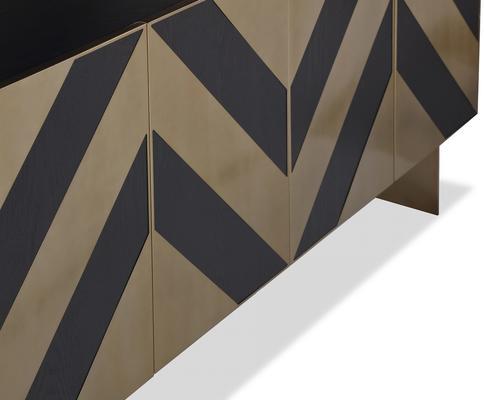 Unma Black and Metallic Chevron Sideboard Retro image 4