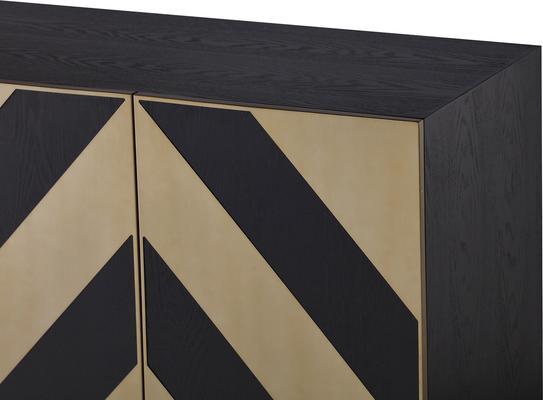 Unma Black and Metallic Chevron Sideboard Retro image 6