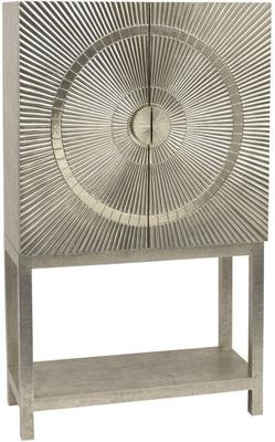 Coco Silver Embossed Metal Bar Cabinet with 2 Doors
