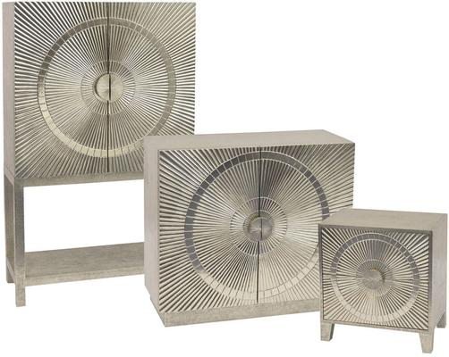Coco Silver Embossed Metal Bar Cabinet with 2 Doors image 2