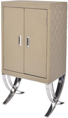 Ecclestone Leather Bar Cabinet Beige and Polished Steel