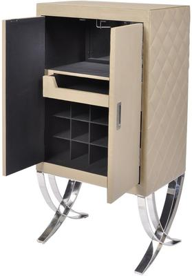Ecclestone Leather Bar Cabinet Beige and Polished Steel image 2