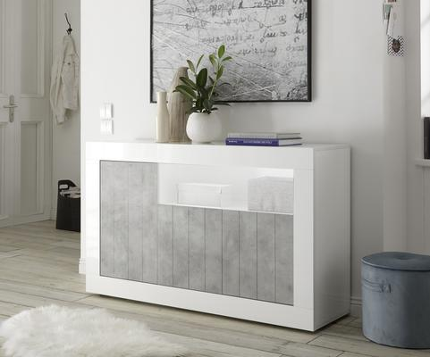 Como Three Door Sideboard - White Gloss and Grey Finish