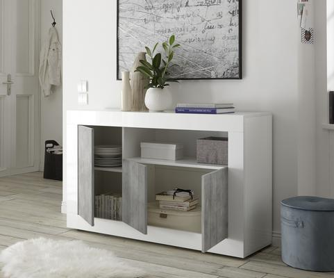 Como Three Door Sideboard - White Gloss and Grey Finish image 2