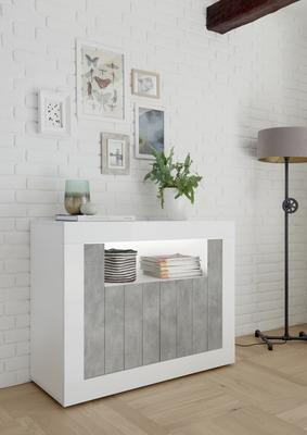 Como Two Door Sideboard - White Gloss and Grey Finish