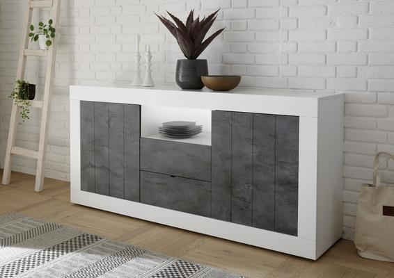 Como Two Door/Two Drawer Sideboard - White Gloss and Anthracite Finish
