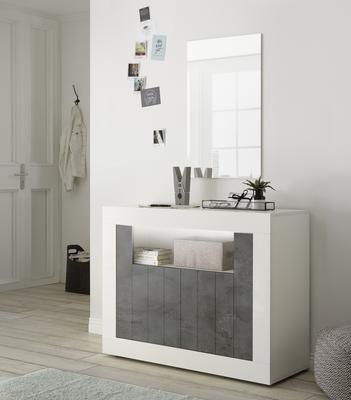 Como Two Door Sideboard - White Gloss and Anthracite Finish