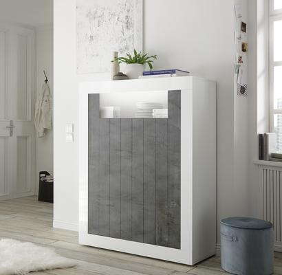 Como Two Door Highboard - White Gloss and Anthracite Finish