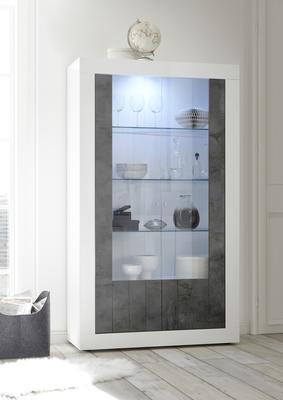 Como Two Door Display Vitrine Inc. LED Spotlight  - White Gloss and Anthracite Finish