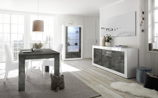 Como Two Door Display Vitrine Inc. LED Spotlight  - White Gloss and Anthracite Finish image 2