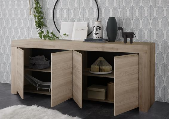 Bergamo Collection Four Door Sideboard -  Kadiz Oak Finish image 2