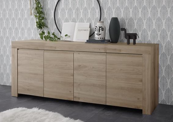 Bergamo Collection Four Door Sideboard -  Kadiz Oak Finish