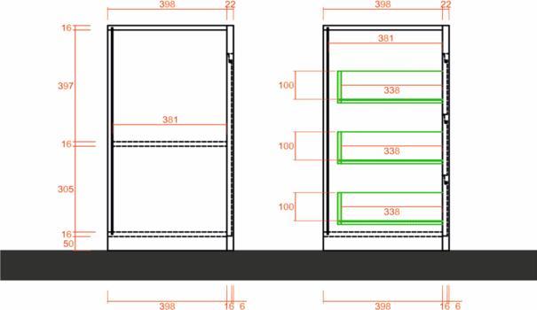 Bergamo Collection Two Door/Three Drawer Sideboard - Kadiz Oak Finish image 4