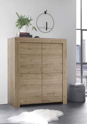 Bergamo Collection Four Door Highboard - Kadiz Oak Finish