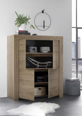 Bergamo Collection Four Door Highboard - Kadiz Oak Finish image 2