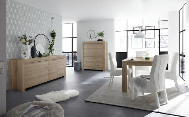 Bergamo Collection Four Door Highboard - Kadiz Oak Finish image 3