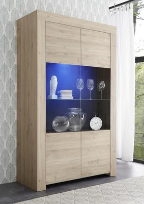 Bergamo Collection Two Door Display Vitrine with LED Spot Light - Kadiz Oak Finish
