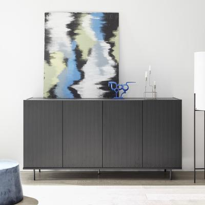 Modena Four Door Sideboard - Grey with Pinstripe Stencil Finish