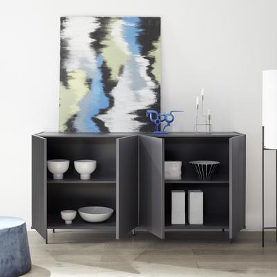 Modena Four Door Sideboard - Grey with Pinstripe Stencil Finish image 2