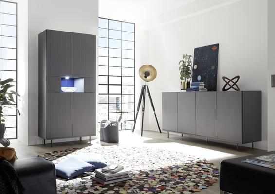 Modena Four Door Sideboard - Grey with Pinstripe Stencil Finish image 4