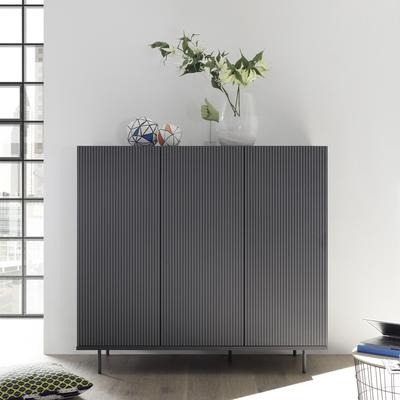 Modena Three Door High Sideboard - Grey with Pinstripe Stencil Finish