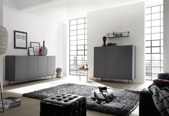 Modena Three Door High Sideboard - Grey with Pinstripe Stencil Finish image 3