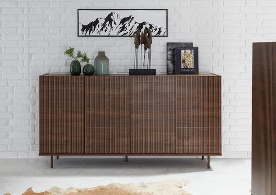 Modena Four Door Sideboard -  Dark Walnut finish with Pinstripe Stencil