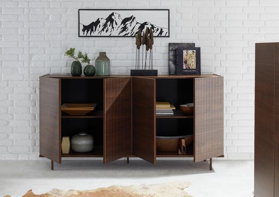 Modena Four Door Sideboard -  Dark Walnut finish with Pinstripe Stencil  image 2