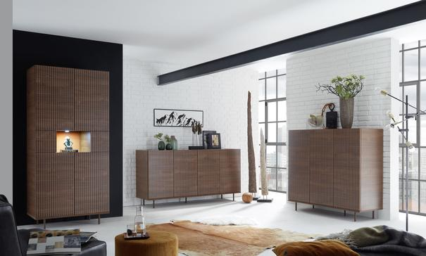 Modena Four Door Sideboard -  Dark Walnut finish with Pinstripe Stencil  image 3