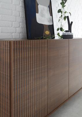 Modena Four Door Sideboard -  Dark Walnut finish with Pinstripe Stencil  image 4
